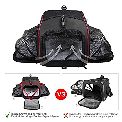 Siivton Pet Backpack Cat Carrier for Small Dogs Cats Rabbits, Collapsible Soft-Sided Mesh & Waterproof Dog Backpack with… 5