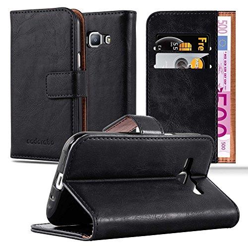 Cadorabo Custodia Libro per Samsung Galaxy J1 2015 in Nero Grafite – con Vani di Carte, Funzione Stand e Chiusura Magnetica – Portafoglio Cover Case Wallet Book Etui Protezione