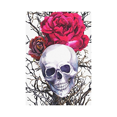 interestprint Menschlicher Schädel mit Rose Blume Polyester Garten Flagge Outdoor Banner 71,1 x 101,6 cm, Aquarell Spooky Halloween Deko Großes Haus Flaggen für Party Yard Home Decor (Halloween-baum Spooky)