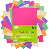 Sugar Paper A3 - Coloured Pages - 50 x Sheets - 100gsm - 21003 - Made in the UK by IVY Stationery