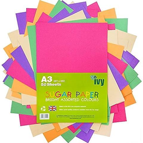 Sucre papier de couleur A3–pages–50x Feuilles–100g/m²–21003–fabriqué au Royaume-Uni par Ivy Stationery