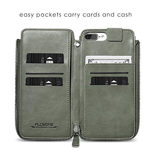 Apple iPhone 6 Handy Tasche, Feitenn Premium Ledertasche Reißverschluss Wallet Case Kartenfach Spiegel Magnetic Schutzhülle PU Leder Hülle Handyhülle für iPhone 6 - Türkis Türkis