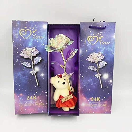erte Rose Geschenk Blume, künstliche Gold Rosen, für Mädchen Geburtstag Valentinstag Frau Muttertag beste Geschenke Bärenjunges und Geschenkbox 24K Galaxy Rosa ()