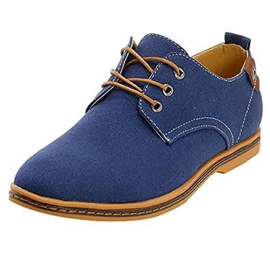 chaussures de ville homme taille 46 Bleu chaussures toile a lacets Canvas oxfords