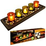 Great Ideas Jewel-Tone Tealight Candle Tray With Glass Votives And Decorative Pebbles