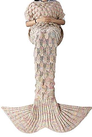iEFiEL Mädchen Damen Kostüm Meerjungfrau Fischschwanz Decke Schwanz Flosse Handgemachte Schlafsack Blanket Kostüm Häkel Erwachsene Decke, Beige, Erwachsene (Handgemachte Halloween-kostüme Für Erwachsene)