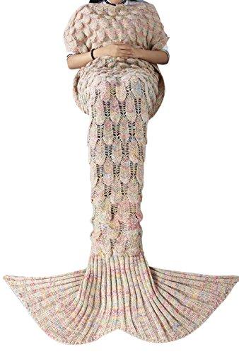 iEFiEL Mädchen Damen Kostüm Meerjungfrau Fischschwanz Decke Schwanz Flosse Handgemachte Schlafsack Blanket Kostüm Häkel Erwachsene Decke, Beige, Erwachsene Größe (Mermaid Schwanz Halloween Kostüme)
