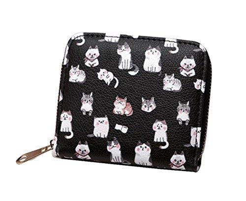 Ylen Süß Katzen Reißverschluss Mini Beutel Kurz Portemonnaie Münzen Tasche Geldbeutel Kleine Geldbörse Geldbörse Katze