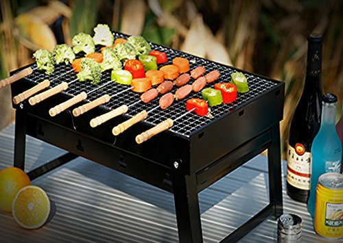 51t DO G7sL - Sunjas Campinggrill, Faltbare BBQ Holzkohlegrill, Outdoor Reisegrill, Tischgrill, Mini Grill für Picknick Party Barbecue (Holzkohlegrill mit Elektro Ventilator)