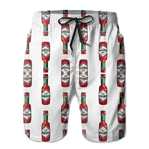 ZKHTO Tabasco Sauce Quick-Drying Mens Summer Printing Beach Board Shorts,Swimwear Boardshorts Trunks Tor-sauce