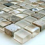 Glas Marmor Mosaik Fliesen 15x15x8mm Beige Mix