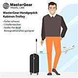 MasterGear Kabinen-Trolley mit Handgepäckmaßen: 55 x 35 x 20 cm für ALLE Fluggesellschaften, schwarz