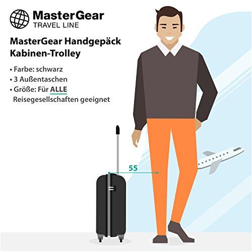 MasterGear trolley pour voyage en cabine avec dimensions comme bagage à main : 55 x 35 x 20 cm pour TOUTES les compagnies aériennes, noir