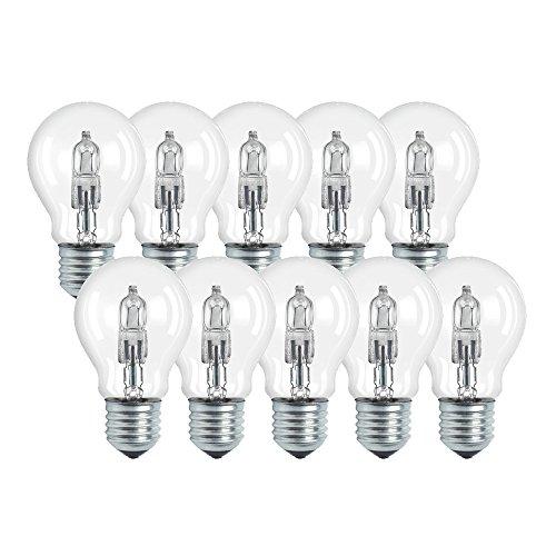 Osram Classic A Halogen-Lampe, E27-Sockel, dimmbar, 77 Watt - Ersatz für 100 Watt, Warmweiß - 2800K, 10er-Pack -