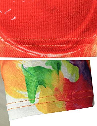 YCHENG Unisex Bunt 3D Druck Muster Rundhals Casual Strassenmode Sport Spaß Motiv Tops T-Shirts Gelb