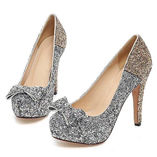 COOLCEPT Femme Mode A Enfiler Chaussures Basse Escarpins Talons Aiguille Chaussures Bout Ferme avec Bow Or
