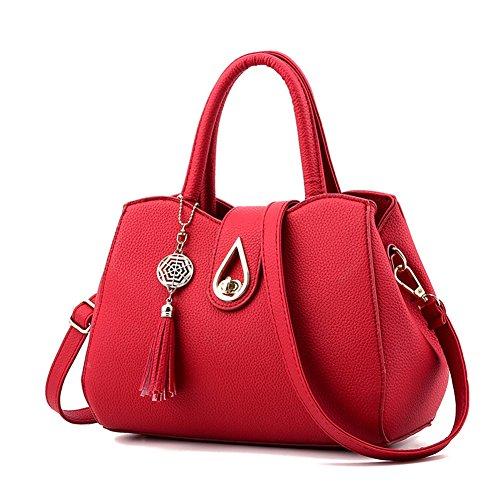 Donna Borse a spalla,PU Leather Handbag Tote Bag Borse a Tracolla Borse Rosso