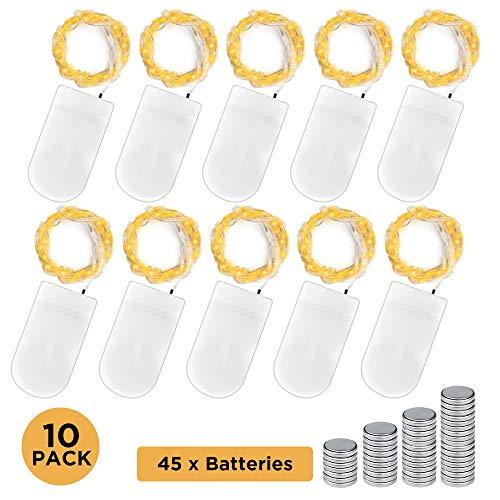 Mudeela 10 x 15er LED Lichterkette mit 25er Verschonte CR2032 Batterien, 1.5 Meter Warmweiß Lichterkette für Party, Garten, Weihnachten, Halloween, Hochzeit, Beleuchtung Deko