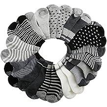 SWEETBB 12 Paare dunkele Farbe Junge Socken Anti-Rutschsocken Baumwolle, warm und weich, 10 - 24 Monate Junge
