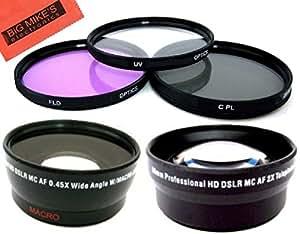 Big Mike'S Deluxe Kit objectif pour Canon Xf100 Xf105 Xa10 caméscope professionnel 3 pièces avec 58 mm Kit de filtres 58 mm pour objectif de longue focale x2 58 mm grand Angle 0,45 x avec objectif Macro chiffon de nettoyage et protection d'écran Lcd