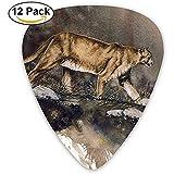 Sherly Yard 12er Pack benutzerdefinierte Plektren Cougar Malerei Kunstwerk Standard Bassgitarrist Musik Geschenke