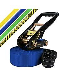 Slackline 15 + 2 m King (charge maximale de 3 tonnes) par BB-Sport, Couleur:bleu
