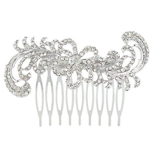 EVER FAITH® fiore di cerimonia nuziale dei capelli dell'onda del pettine chiaro austriaco di cristallo silver-tone