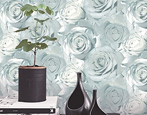 Wallpaper Roses 3D Nonwovens TV Backdrop Bedroom Bedside Murals Furniture Decoration,Blue