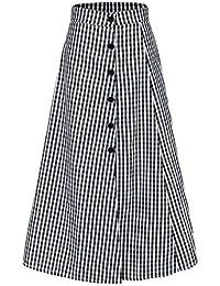 LXIANGP Falda de Mujer Falda de Cintura Alta Dividida Plisada botón de  algodón decoración Falda Falda a Cuadros… e0ee0f5d8248