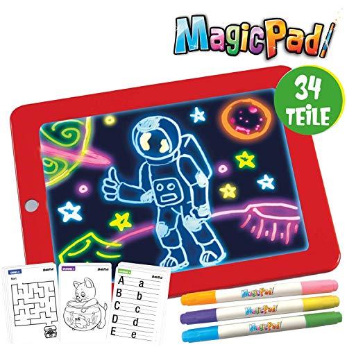 Mediashop Magic Pad | Zeichenbrett | 3 Farbstifte mit 6 Neonfarben | 30 Schablonen zum Ausmalen, Zeichnen, Schreiben & Rechnen | Schreibplatte | Maltafel | Das Original aus dem TV
