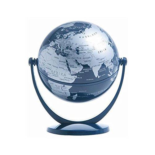 10 cm Dreh-Schwenk-Globus: Mini Globus metallic Silber, blauer Fuß 10cm ∅