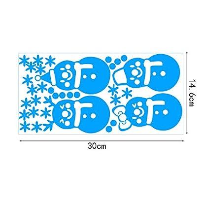 bdrsjdsb Navidad Muñeco De Nieve Copo De Nieve Luminoso Etiqueta De La Pared Adornos De Ventana Brillan En La Oscuridad Dormitorio Calcomanía Regalo Azul