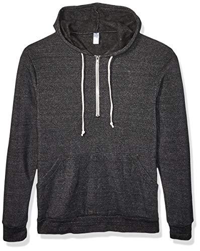 Alternative Herren Jackson eco-Fleece Half-Zip Hoodie Kapuzenpulli, Black, Klein - Zurück Zip Hooded Sweatshirt