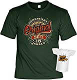 T-Shirt zum 18. Geburtstag - Garantiert Original seit 18 Jahren - Im Set mit einem Happy Birthday Minishirt!
