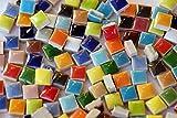 100 St. keramik Mosaiksteine 1x1cm Buntmix in verschiedenen Farben frostsicher ca. 100g.