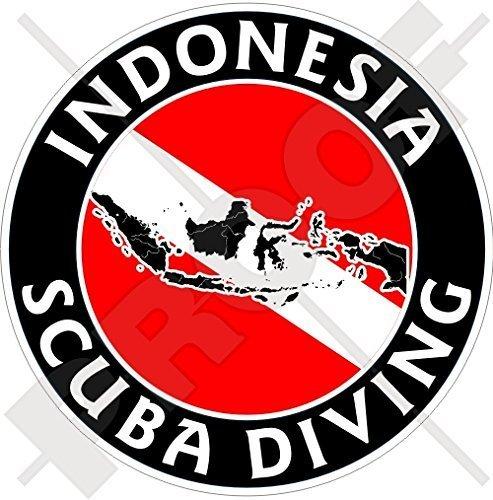 INDONESIEN SCUBA DIVING Flagge-Indonesische Kartenform 100mm Rundschreiben, Auto & Motorrad Aufkleber, Vinyl Sticker -