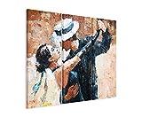 Paul Sinus Art 3 Teiliges Leinwand-Bild 3x90x40cm (Gesamt 130x90cm) Digitales Gemälde – Tangotänzer auf Leinwand Exklusives Wandbild Moderne Fotografie für Ihre Wand in Vielen Größen