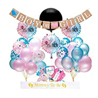 """Gender Reveal Party Supplies and Baby Shower Boy or Girl Kit (64 Pieces) - Including 36"""" Reveal Balloon, Confetti Balloons, Banner, Photo Props and Blue and pink balloons pull flags on paper balloons"""