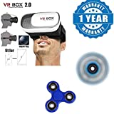 Captcha Apple IPad Air Compatible Certified Vr Box 2.0 Virtual Reality Glasses, 2016 3D Vr Headsets For 4.7~6 Inch Screen Phones With New Fidget Hand Spinner For Fun, Anti-Stress, Focus, ADHD, Anxiety & Autism(1 Year Warranty)