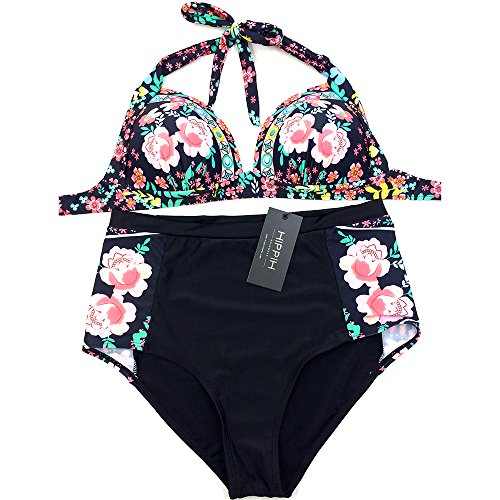 HIPPIH Mujeres Cintura Alta Vintage Floral Impresi¨®n Push Up Bikini