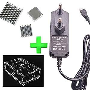 Aukru® Nouveau 3-in-1 raspberry pi kit (Chargeur Alimentation UE Micro USB + Boitier transparent +Aluminium ensemble du dissipateur thermique) pour Raspberry Pi B