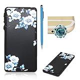 Für Sony Xperia E5 Hülle Silikon Schwarz Schutzhülle,SKYXD Blumen Serie [Blaue Blume] für Frauen Mädchen Handytasche mit [Staubstecker + Eingabestift] Handyhülle für Sony Xperia E5 Case Backcover