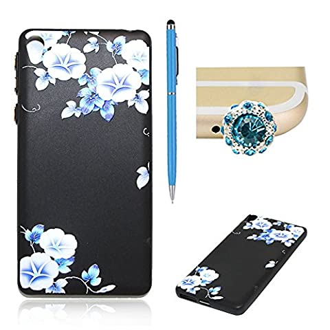 SKYXD Sony Xperia E5 Silicone Case,Vintage Floral Flower Collection Soft Gel TPU Skin Protective Bumper Black Background Morning glory Design Cover For Sony Xperia E5 + 1 x Touch Screen Stylus + 1 x Dust