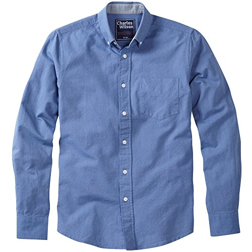 Charles Wilson Langärmliges Oxford Freizeithemd Tiefblau