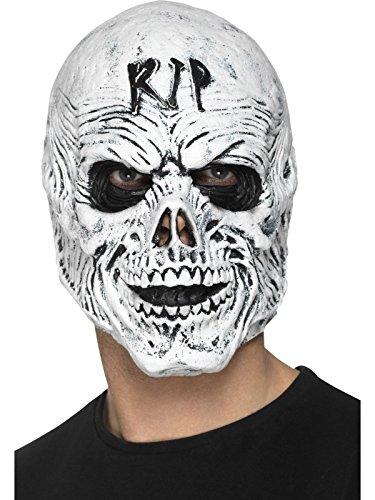 Smiffys Herren R.I.P Sensenmann Maske, Ganzer Kopf, One Size, Weiß, 48168