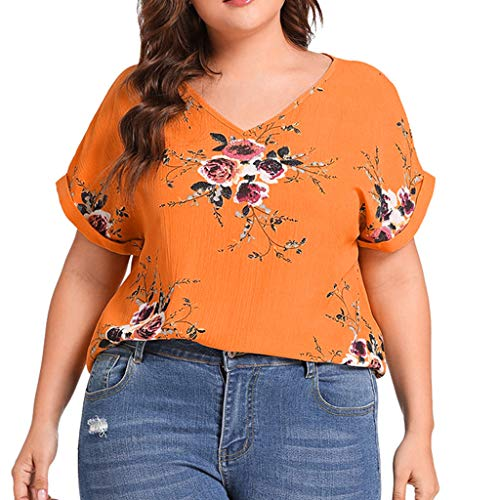VJGOAL Damen T-Shirt, Damen Plus Size Criss Cross Double Chiffon Print Kurzarmhemd Pullover Unregelmäßige Tops Bluse (XL / 44, S-C-Gelb)