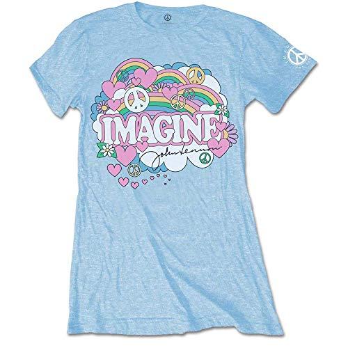 John Lennon Rainbows, Love & Peace T-Shirt, Bleu (Blue Blue), 36 (Taille Fabricant: Small) Femme