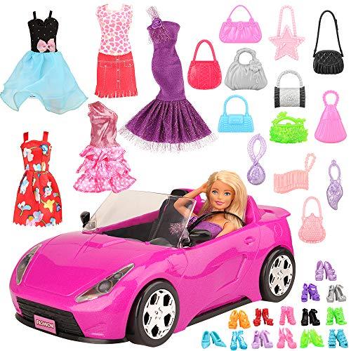 Miunana 26 Piezas para Muñecas Barbie: Vehículo Coche + 5 Vestidos Ropas + 10 Bolsas + 10 PCS Zapatos