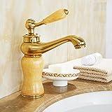 decorry Style européen de cuivre antique Robinet lavabo, froides et chaudes Rose Or Meuble Salle de Bain, jade Robinet, un trou Céramique Disque de traçage, flexible avec votre.