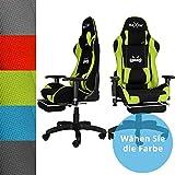 RAXOR Racing Hochwertiger Bürostuhl Gaming Stuhl,Ergonomischer höhenverstellbar Schreibtischstuhl Chefsessel Computerstuhl Drehstuhl mit einstellbaren Armlehnen, Kunstleder PU Sportsitz Racing Chair(grün)